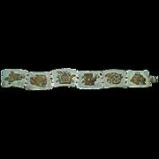 Vintage Modernistic Mexican Sterling Silver and Enamel Bracelet