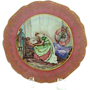 Antique Pink Bordered Limoges Handpainted Plate Scene from King Lear w/Jewelling