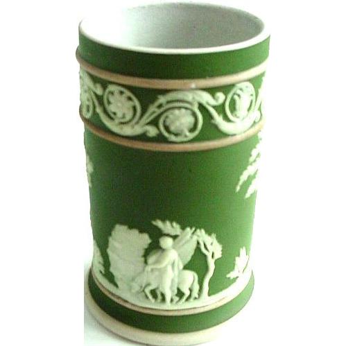 Wedgwood Olive Green Tricolor Jasperware/Jasper Ware Toothpick/Matchholder