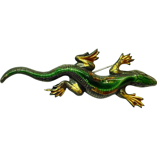 Enamel on Sterling Large Lizard/Gila Monster Brooch