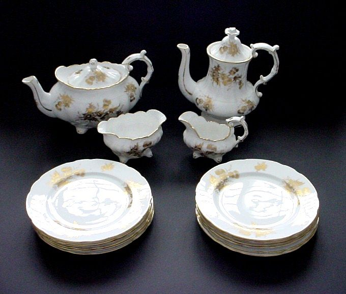 Hammersley Fine Bone China White and Gold Thistle Patterned Teaset with Teapot, Coffeepot, etc.