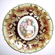 """Fabulous Antique 12 1/4"""" Charger Plate Lots of Gold  - Steeple Mold"""