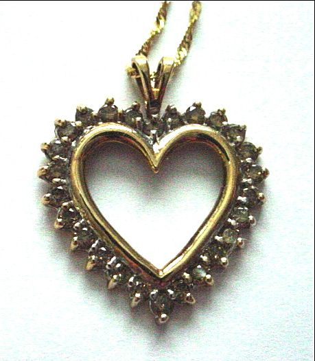 10K Yellow Gold and Diamond Heart Pendant Charm