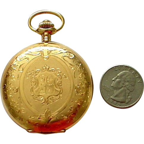 Antique 14K Large Pocket Watch Swiss Squirrel Hallmark