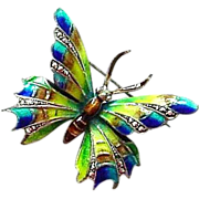 Vintage Alice Caviness Signed  Enamel on Sterling with Marcasites Butterfly Pin made in Germany