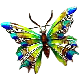 Alice Caviness Designed Enamel on Sterling and Marcasite Butterfly Pin from Germany
