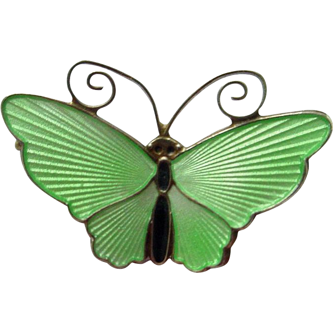 Lime Green David Andersen Norway Guilloche Sterling and Enamel Butterfly Pin