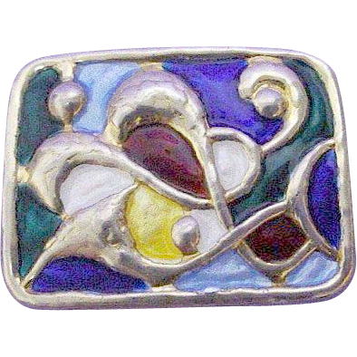 Enamel Sterling Oystein Balle Multi-color Modernist Brooch/Pin