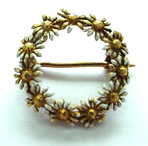 14K Antique Enamel and Gold Daisy Circle Pin/Brooch