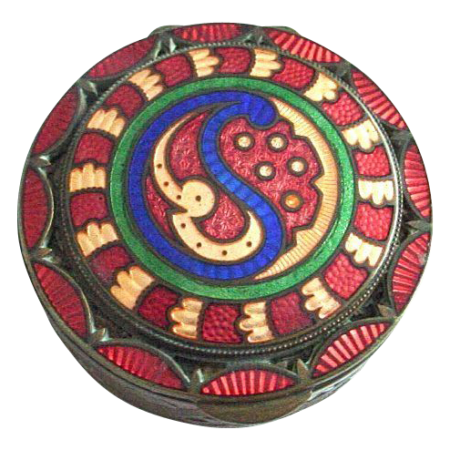Unusual Enamel and Guilloche on Bronze Patch Box, Compact, Vanity Box, Objet de Virtu