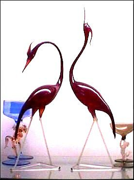Large Bimini Austrian Art Deco Art Glass Pair of Egrets
