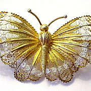 Filigree and Enamel Gilded Butterfly Pin Italian Silver Very Large 2 7/8""