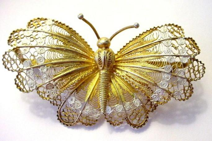 Huge Filigree and Enamel Gilded Butterfly Pin Italian 800 Silver