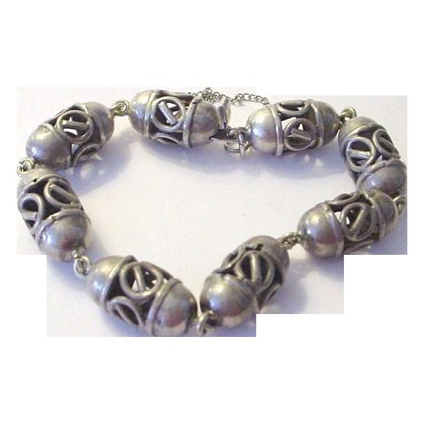 Handmade Heavy and Long Sterling Silver Bracelet Pierced