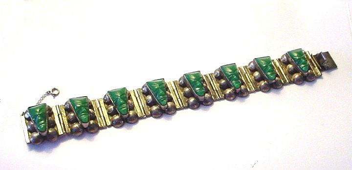 Old Large and Heavy Sterling Silver and Chrysophase Bracelet