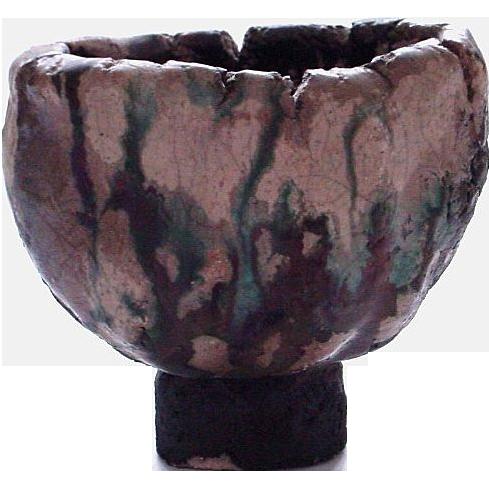 Small but Powerful Raku Pottery Vessel/Vase