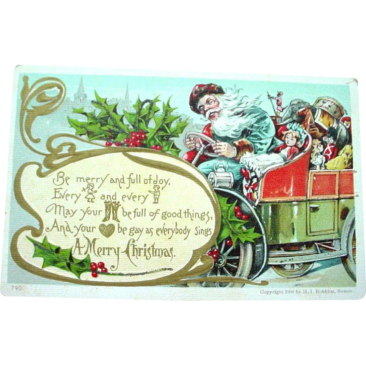 Very Fine 1906 Blue Robed Santa in Motor Card Christmas Postcard