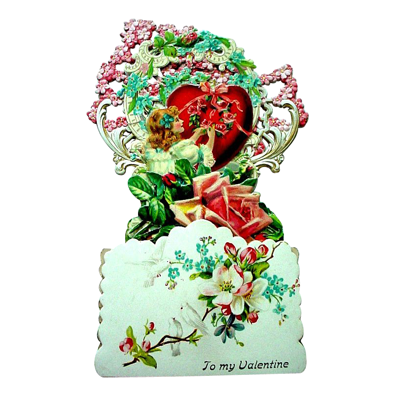 German Die Cut Fold Out 3-D Valentine with Forget Me Nots, Large Red Heart