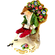 Porcelain Crown Staffordshire England Figure Musician ca. 1920 or prior