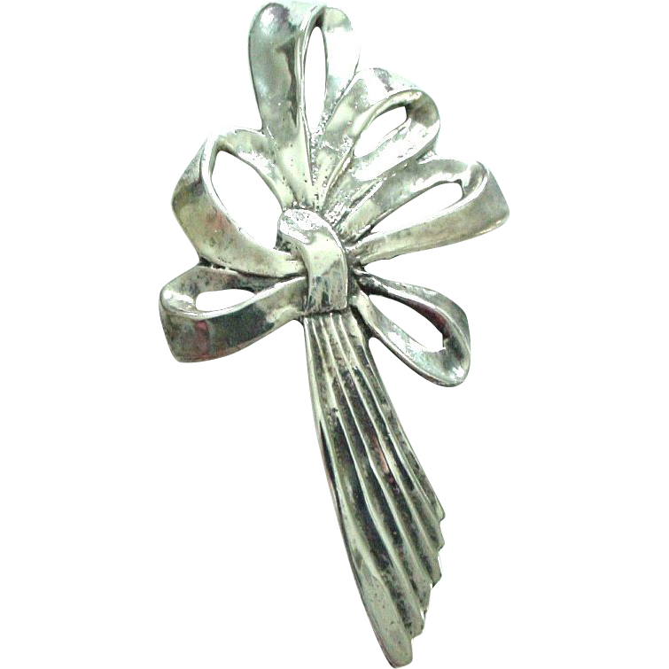 Vintage Sterling Silver Large Bow Pin