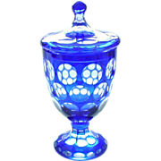 Cobalt Cut to Clear Crystal Covered Jar