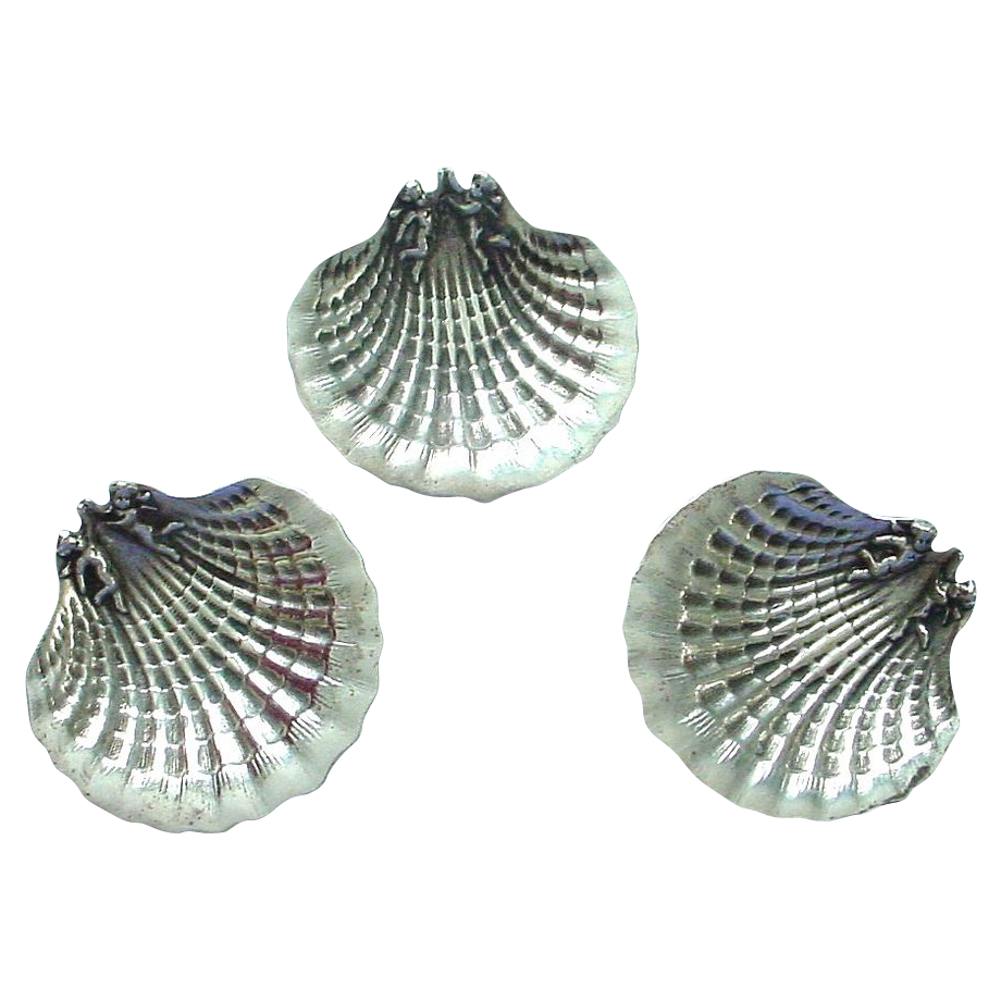 Sterling Silver Figural Angels on Shell Open Salt
