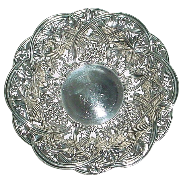 Antique 1907 Rare Whiting Sterling Silver Grape Pattern Holloware Bonbon Bowl