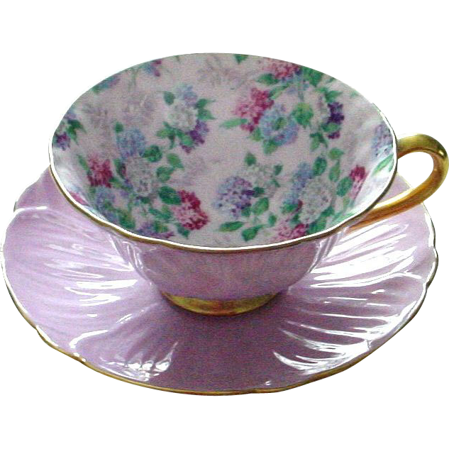 Extraordinary Shelley Oleander Shaped Summer Glory Hydrangea Chintz Cup and Saucer Mauve Pink Hydrangea Pattern
