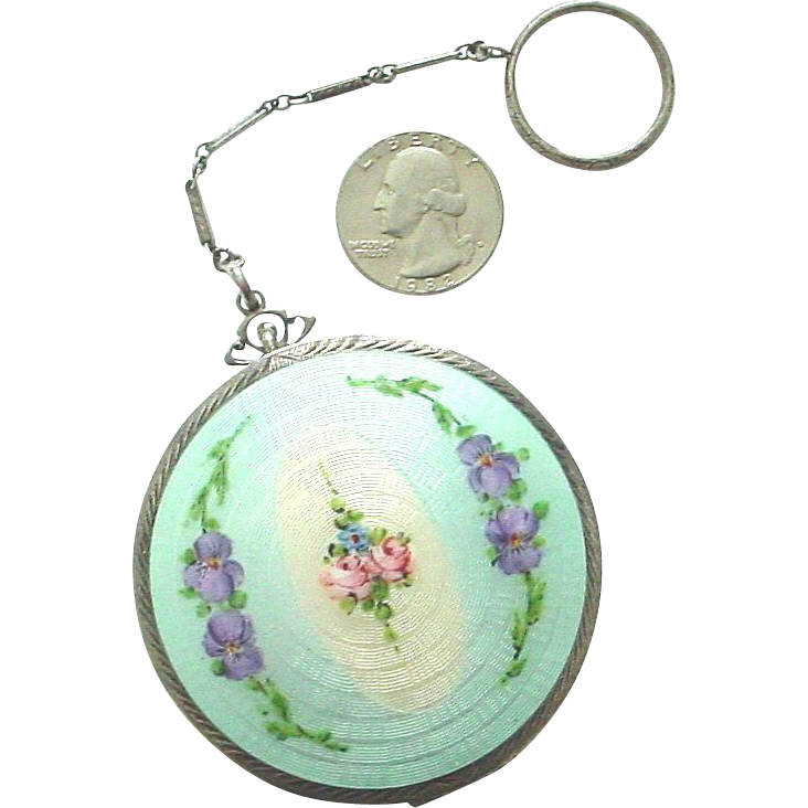 Ca. 1930 Enamel on Guilloche Sterling Silver Compact by Ripley & Gowan - Complete and Fabulous!