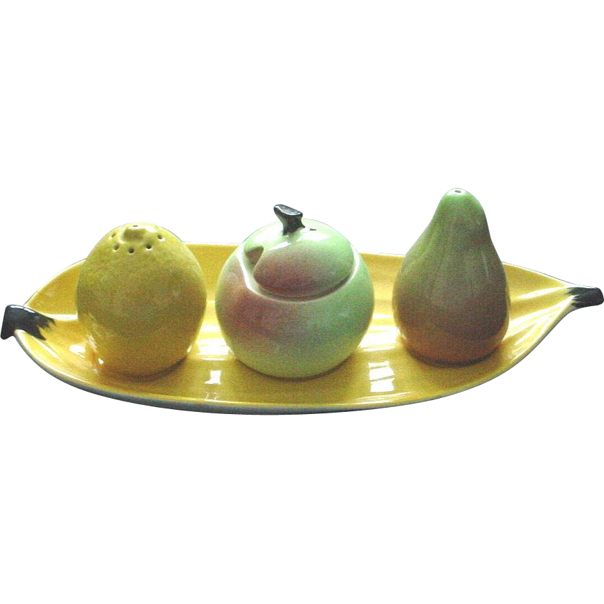 Carltonware Carlton Ware Figural Condiment Set on Banana Peel