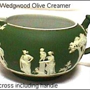 Antique Wedgwood Olive Green Creamer (larger size) Tricolor