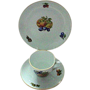 Czechoslovakia Trio with Fruit Pattern with Pineapple, Cherries, Grapes, and more