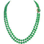 Vintage Double Strand Jade-like  Glass Beads
