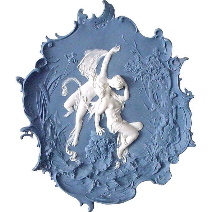 Very Large Antique Volkstedt Erotic Sensuous Bare Breasted Kissing Lovers Jasperware Plaque