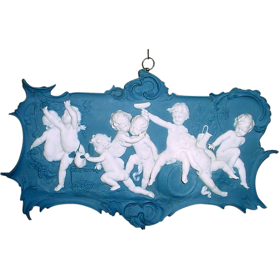 Antique German Volkstedt 8 Figure Bacchanalian Putti Jasperware Plaque