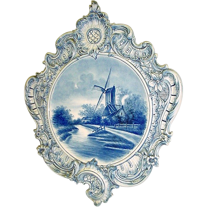 Stupendous Huge Antique Delft Handpainted Plaque