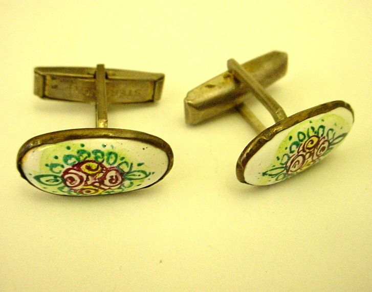 Handpainted Porcelain on Sterling Silver Cufflinks - Cuff Links