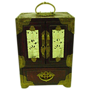 Vintage Chinese Rosewood and Jade Jewelry Box