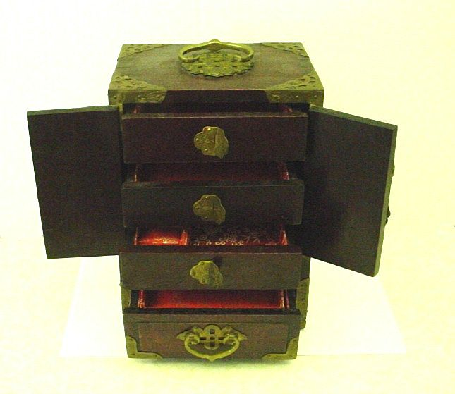 Vintage Chinese Rosewood and Jade Jewelry Box from thatwasthen on