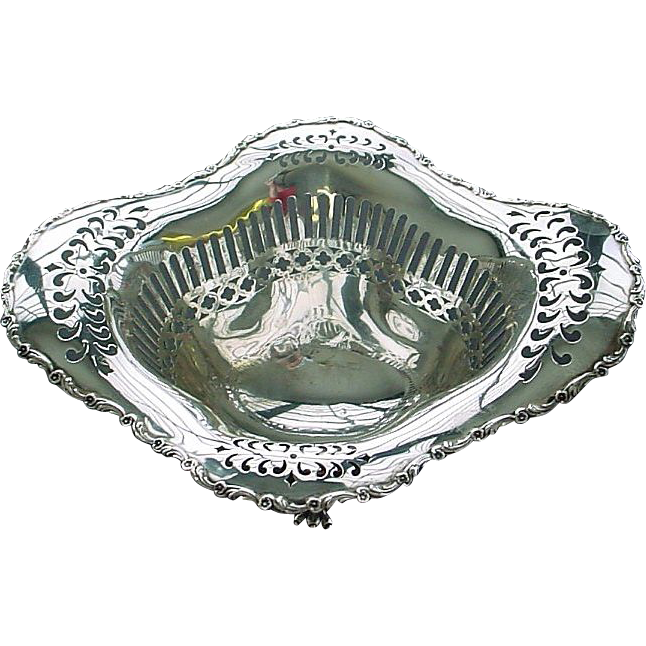 Antique Sterling Silver Pierced and Claw Footed Serving Bowl