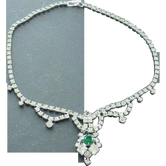 Faux Diamond Rhinestone and Emerald Rhinestone Festoon Necklace