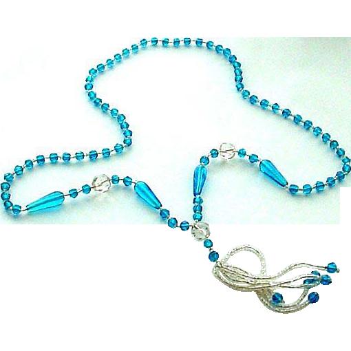 Vintage Glass Crystal Sautoir Necklace with Tassel
