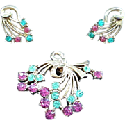 Vintage Pink and Aqua Pin and Earring Set - Bow