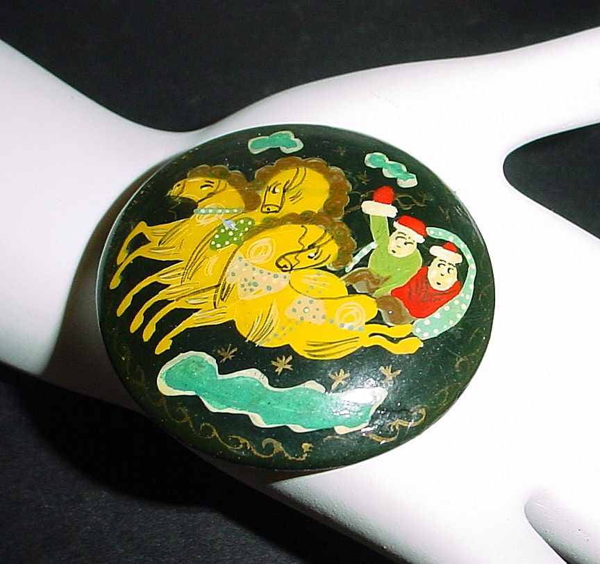Russian Papier Mache Handpainted Troika Pin - Christmas
