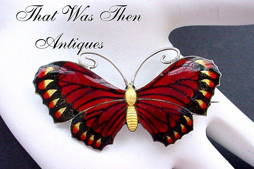 John Atkins & Sons 1917 Multi-Color Enamel on Sterling Butterfly Pin