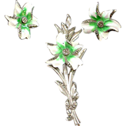 Enamel on Sterling Brooch and Earring Set - Orchid - 3 3/4""