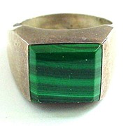 Sterling Silver Mexico Heavy Ring with Malachite Sz 10 1/2 - Gents