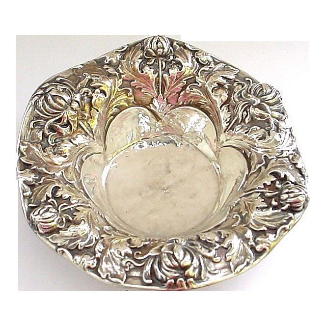 Gorgeous Antique Gorham Sterling Silver Art Nouveau Bonbon Bowl - Damaged