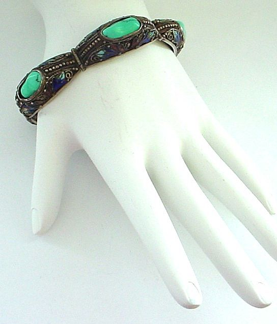 Vintage Chinese Enamel, Silver, and Turquoise Bracelet Narrow and 7 3/8""