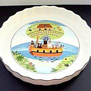 "Villeroy & Boch  9 1/2"" Quiche Dish Naif Pattern of Noah's Ark - Mint!"